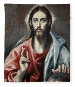 Christ Blessing, The Saviour Of The World Fleece Blanket