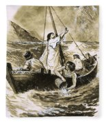 Christ Calming The Storm Fleece Blanket