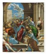 Christ Cleansing The Temple Fleece Blanket