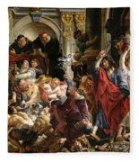 Christ Driving The Merchants From The Temple Fleece Blanket