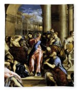 Christ Driving The Traders From The Temple 1576 Fleece Blanket