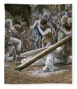 Christ Falls Beneath The Cross Fleece Blanket