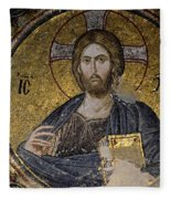 Christ Holds Bible In Mosaic At Chora Church Istanbul Turkey Fleece Blanket