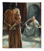 Christ In Front Of Pontius Pilate Fleece Blanket