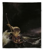 Christ In The Storm On The Sea Of Galilee Fleece Blanket