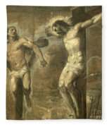 Christ On The Cross And The Good Thief Fleece Blanket