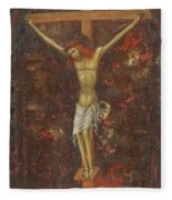 Christ On The Cross  Fleece Blanket