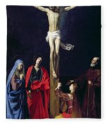 Christ On The Cross With The Virgin Mary Magdalene St John And St Francis Of Paola Fleece Blanket