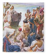 Christ Preaching From The Boat Fleece Blanket