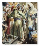 Christ Removing The Money Lenders From The Temple Fleece Blanket