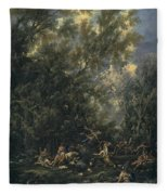 Christ Served By The Angels Fleece Blanket