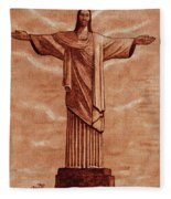 Christ The Redeemer Statue Original Coffee Painting Fleece Blanket