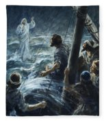 Christ Walking On The Sea Of Galilee Fleece Blanket