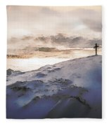 Christian Cross On Mountain Fleece Blanket