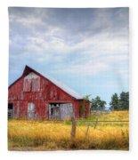 Christian School Road Barn Fleece Blanket by Cricket Hackmann