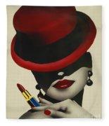 Christion Dior Red Hat Lady Fleece Blanket