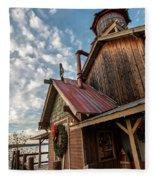Christmas Barn On The Lake Fleece Blanket