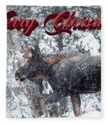 Christmas Bull Moose Fleece Blanket