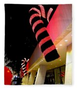 Christmas Candy Canes Fleece Blanket