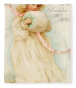 Christmas Card Depicting A Girl With A Muff Fleece Blanket