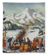 Christmas Card Depicting A Pioneer Christmas Fleece Blanket