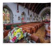 Christmas Church Flowers Fleece Blanket