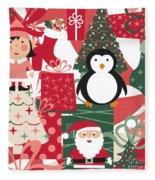 Christmas Collage Fleece Blanket