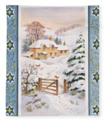 Christmas Cottage Fleece Blanket
