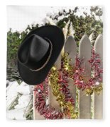 Christmas Cowboy Hat On Fence - Merry Christmas  Fleece Blanket