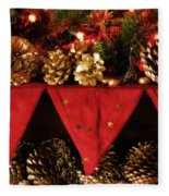 Christmas Decorations Of Garlands And Pine Cones Fleece Blanket