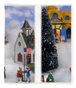 Christmas Display - Gently Cross Your Eyes And Focus On The Middle Image Fleece Blanket
