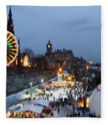 Christmas Fair Edinburgh Scotland Fleece Blanket