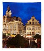 Christmas Fair In Front Of Town Hall Fleece Blanket