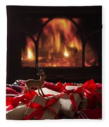 Christmas Gifts By The Fireplace Fleece Blanket