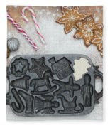Christmas Interior With Sweets And Vintage Kitchen Tools Fleece Blanket