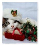 Christmas Kitten Fleece Blanket