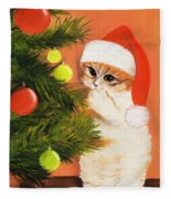 Christmas Kitty Fleece Blanket