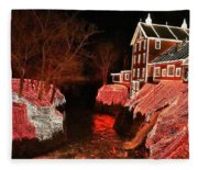 Christmas Lights At Clifton Mill Fleece Blanket