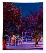 Christmas Lights At Locomotive Park Fleece Blanket