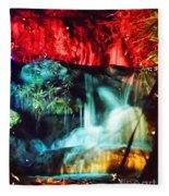 Christmas Lights At The Waterfall Fleece Blanket