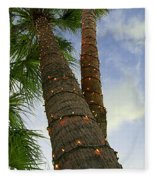 Christmas Lights On Palm Trees Fleece Blanket