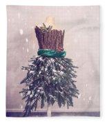 Christmas Mannequin Dressed In Fir Branches Fleece Blanket