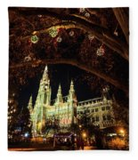 Christmas Market At The Vienna City Hall Fleece Blanket