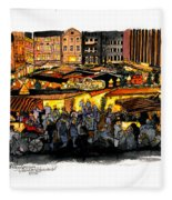Christmas Market Recklinghausen Fleece Blanket