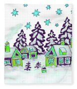 Christmas Picture In Green And Blue Colours Fleece Blanket