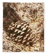 Christmas Pinecone On Barn Floor Fleece Blanket