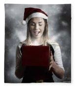 Christmas Present Girl Opening Magic Gift Box Fleece Blanket