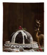 Christmas Pudding With Cream Fleece Blanket