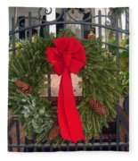 Christmas Ribbon On Iron Door Fleece Blanket