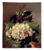 Christmas Roses Fleece Blanket